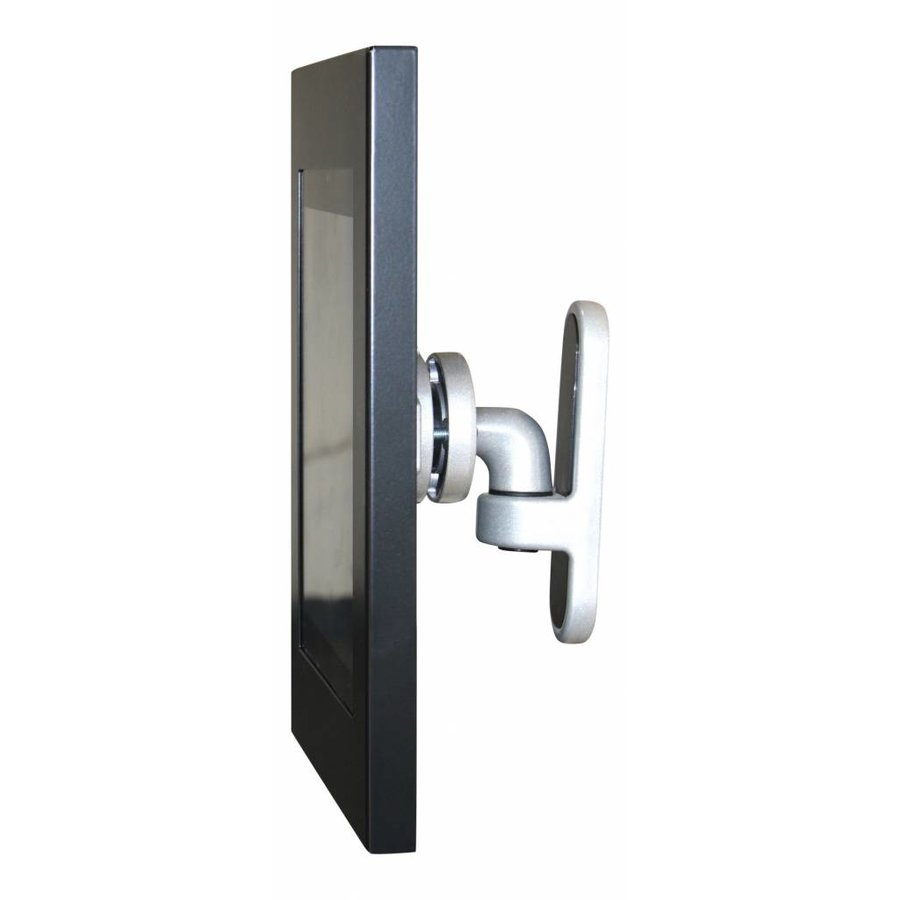 """12-13"""" Tablet wall mount Flessibile at (125 mm, 300 mm, 450 mm) from the wall with Securo enclosure. black"""