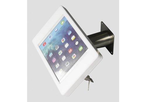 Bravour iPad houder wit/RVS voor iPad Mini; Fino, solide houder voor wand-, tafel montage van gecoat staal met acrylaat behuizing inclusief slot