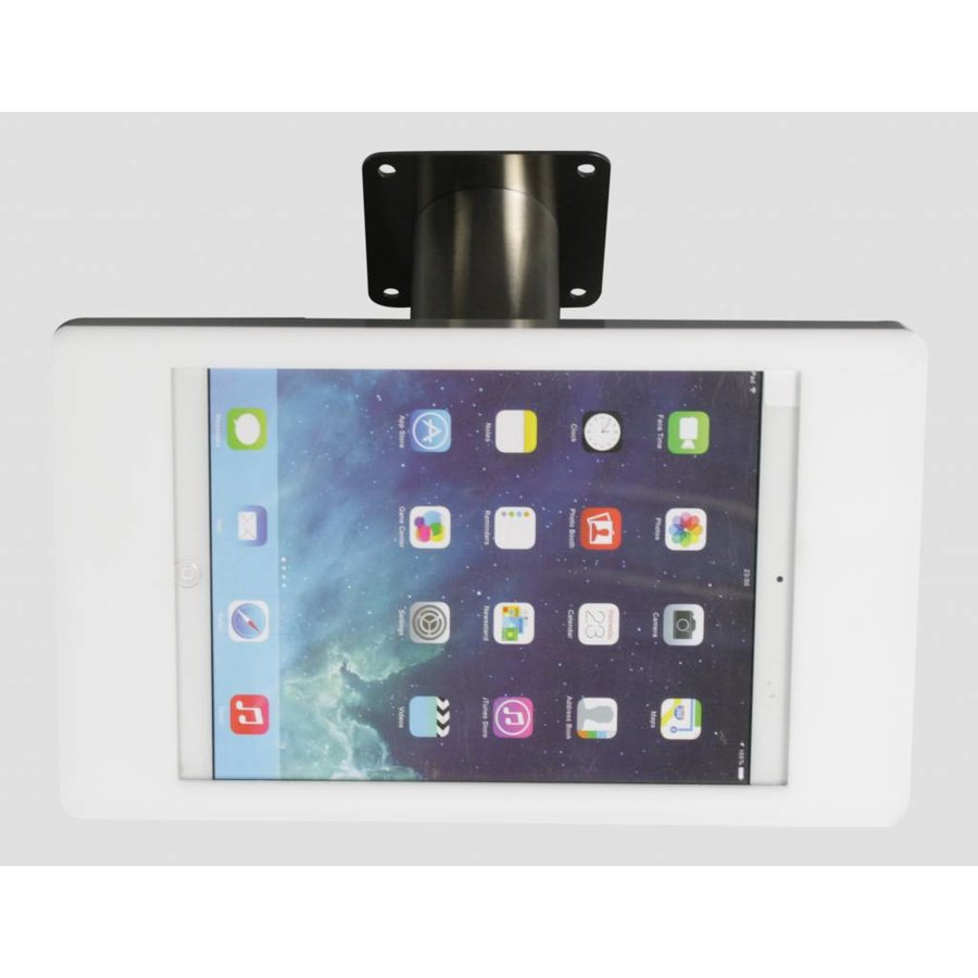 iPad mini wall or desk mount Fino white/stainless steel, with luxury acrylic tablet casing dedicated to the iPad mini.
