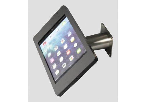 Bravour iPad houder zwart/RVS voor iPad Mini; Fino, solide houder voor wand-, tafel montage van gecoat staal met acrylaat behuizing inclusief slot