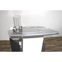 Tumbler holder in stainless steel for reading plateau on lectern
