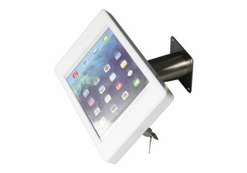 Bravour Soporte iPad pared/escritorio para iPad Pro 9,7, iPad Air, carcasa en acrílico blanco y tubo en acero. Fino