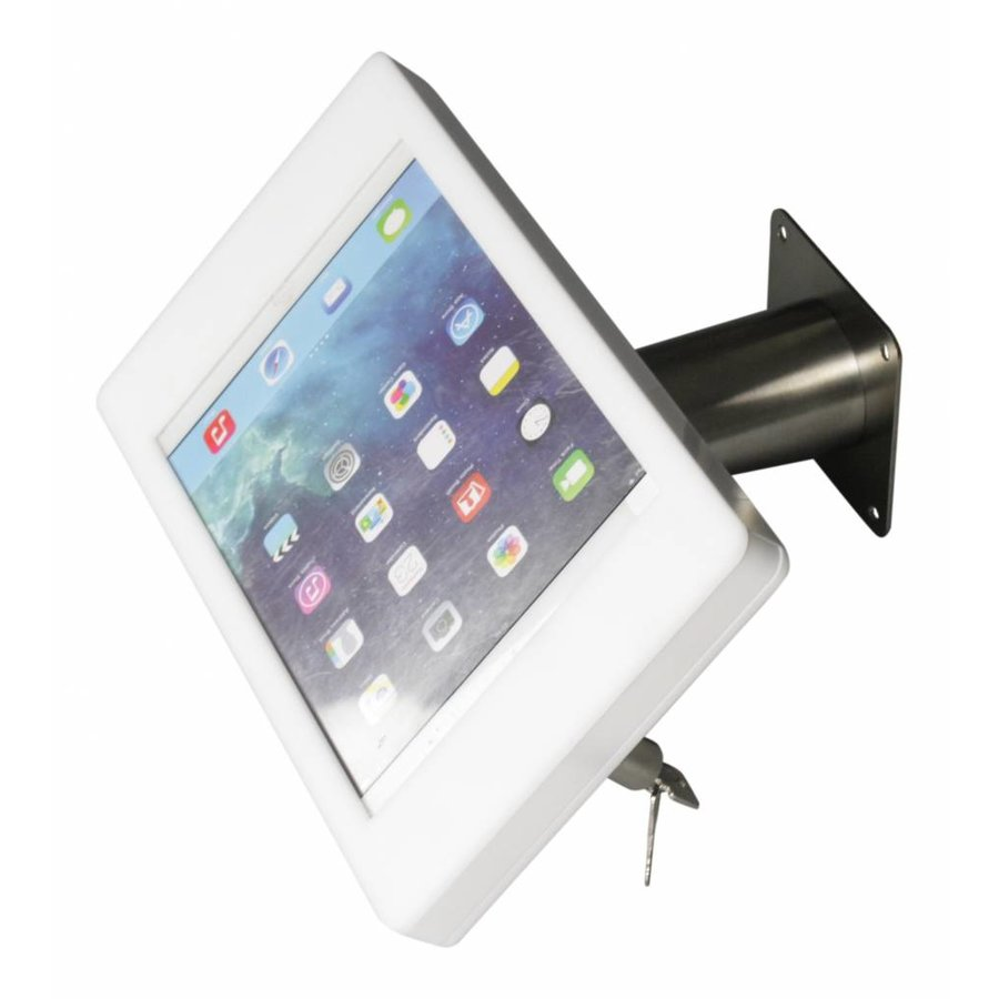 """iPad pro 9.7"""" & iPad Air 1/2 wall or desk mount Fino white / stainless steel, 360° rotation unit, a tilting module (optional)"""