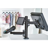 Point of sale RetailSystem, two-arm mounting for screens and payment terminal holder. Desk stand