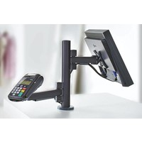 Point of sale RetailSystem, one arm mounting for screen and payment terminal holder. Desk stand