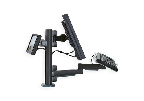 Point of sale RetailSystem, two-arm mounting for screens and keyboard holder