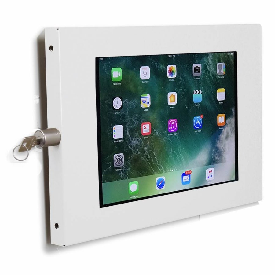 """Tablet wall holder Securo for iPad 10.5"""" and other 9-11 inch tablets, coated and durable steel, lockable"""