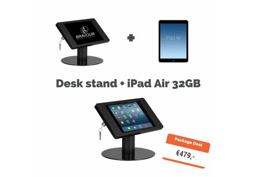 Bravour Soporte mesa + iPad Air 32GB WiFi, negro