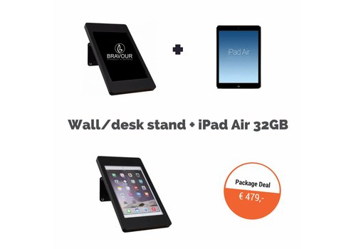 Bravour iPad wandhouder Fino + iPad Air 32GB WiFi, zwart