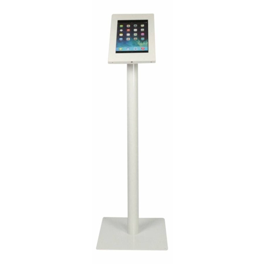 "Tablet floor mount Securo 10.1"" inch white, coated and sturdy steel, lockable, cable management"