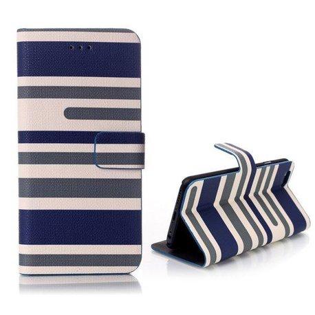 Blauw gestreepte iPhone 6 portemonnee hoes