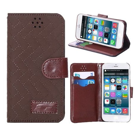 Fashion bruin pu lederen iPhone 6 portemonnee hoes