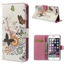 Kleurrijke vlinders iPhone 6 plus portemonnee hoes