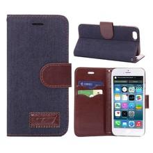 Spijkerstof iPhone 6 portemonnee hoesje