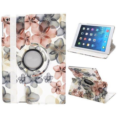 Bloemenpatroon Roteerbare iPad Air case - Wit