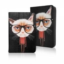 Kat met bril 7 - 8 inch tablet hoes
