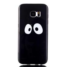 Zwart TPU hoesje met cartoon ogen Galaxy S7 edge