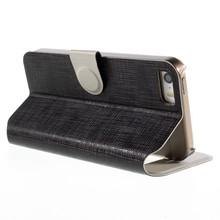 KINGXBAR Zwartkleurige fijne ruiten patroom met Kijkvenster voor de iPhone SE/5/5S