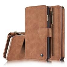 CaseMe 14 vaks wallet bruin hoesje met echt Split leer,  voor iPhone 6 Plus