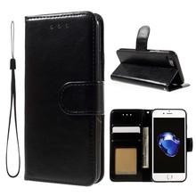 Crazy horse zwarte pu leren iPhone 7 portemonnee hoesje