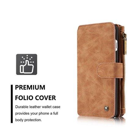 CaseMe 14 vaks 2 in 1 wallet hoesje iPhone 7 Plus bruin echt Split leer