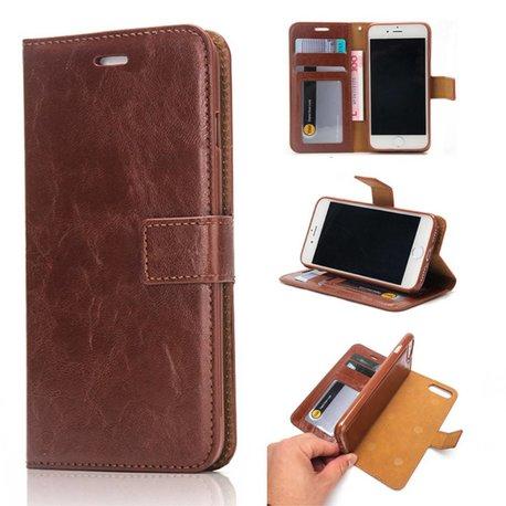 Crazy horse bruine pu leren iPhone 7 plus portemonnee hoesje met los te maken case