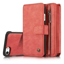 CaseMe 14 vaks 2 in 1 wallet hoesje iPhone 7 rood echt Split leer