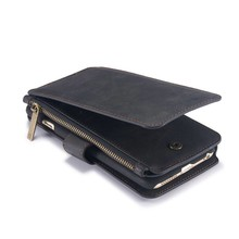 CaseMe 14 vaks 2 in 1 wallet zwart hoesje iPhone 6 plus echt Split leer