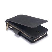 CaseMe 14 vaks 2 in 1 wallet zwart hoesje iPhone 6 plus echt Split leer