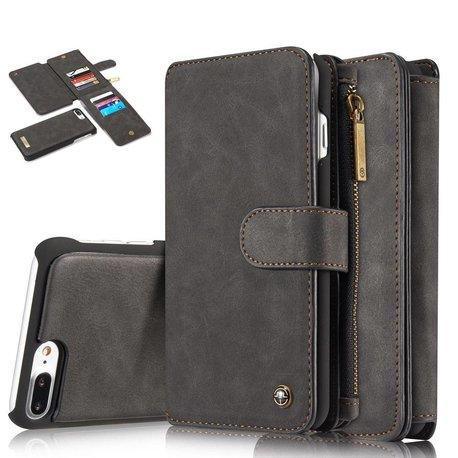 CaseMe 14 vaks 2 in 1 wallet hoesje iPhone 7 Plus zwart echt Split leer