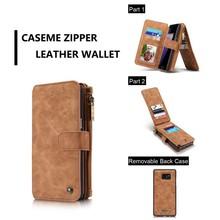 CaseMe 14 vaks 2 in 1 wallet hoesje Samsung S8 echt Split leer