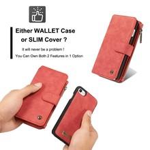 CaseMe Rood 14 vaks 2 in 1 wallet hoesje Samsung S8 echt Split leer