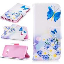 Samsung Galaxy S8 portemonnee hoesje chrysanten en vlinders
