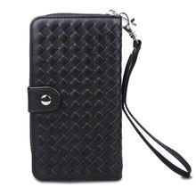 Zwarte geweeft Stevige  portemonnee hoes voor de S8 met los te maken case