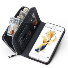 Zwart geweven  portemonnee hoes voor de iPhone 6