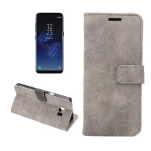 Samsung Galaxy S8 Portemonnee hoesje grijs zachte stof