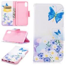 Blauwe vlinder en bloemen iPhone X portemonnee hoesje