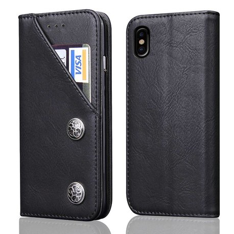 Zwarte luxe afgewerkt iPhone X portemonnee hoesje