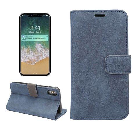 Blauwe kunstleren iPhone X portemonnee hoesje