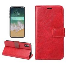 Rode kunstlederen iPhone X portemonnee hoesje