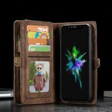 CaseMe Bruine multifunctioneel wallet hoesje iPhone X  echt split leer