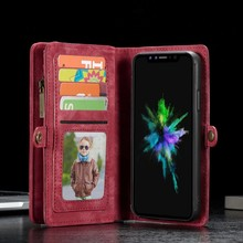 CaseMe Rode multifunctioneel wallet hoesje iPhone X  echt split leer
