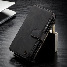 CaseMe 14 vaks 2 in 1 wallet zwart hoesje iPhone X echt Split leer