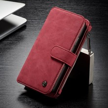 CaseMe 14 vaks 2 in 1 wallet rood hoesje iPhone X echt Split leer