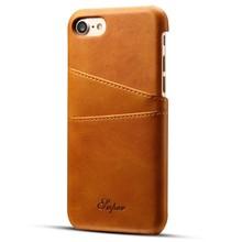 Suteni Bruine harde met pu leer bekleed iPhone 7 en 8 hoesje met ruimte voor 2 pasjes
