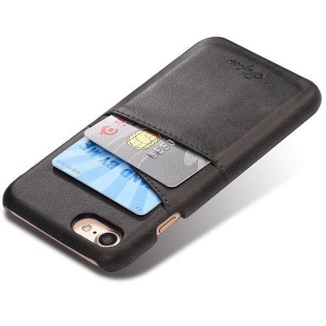 Suteni Zwarte harde met pu leer bekleed iPhone 7 en 8  hoesje met ruimte voor 2 pasjes