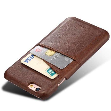 Suteni Donker bruine harde met pu leer bekleed iPhone X  hoesje met ruimte voor 2 pasjes