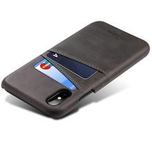 Suteni Zwarte harde met pu leer bekleed iPhone X met ruimte voor 2 pasjes