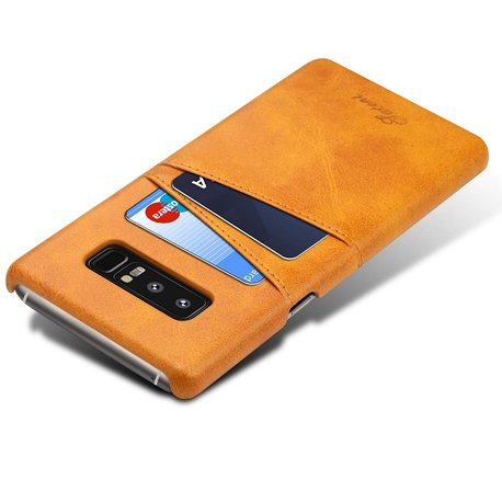 Suteni Bruine harde met pu leer bekleed Galaxy Note 8  hoesje met ruimte voor 2 pasjes