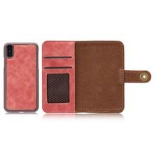 Rood kunstleren iPhone X portemonnee hoesje met los te maken case